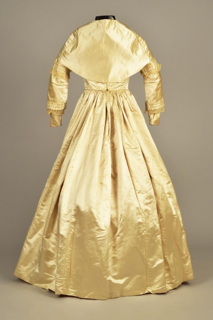 CREAM SATIN WEDDING DRESS and CAPE, c. 1845 - 2