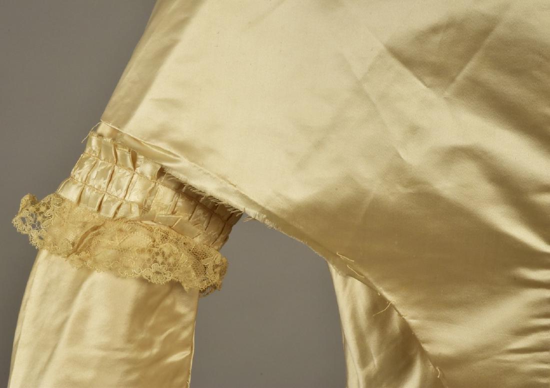 CREAM SATIN WEDDING DRESS and CAPE, c. 1845 - 3