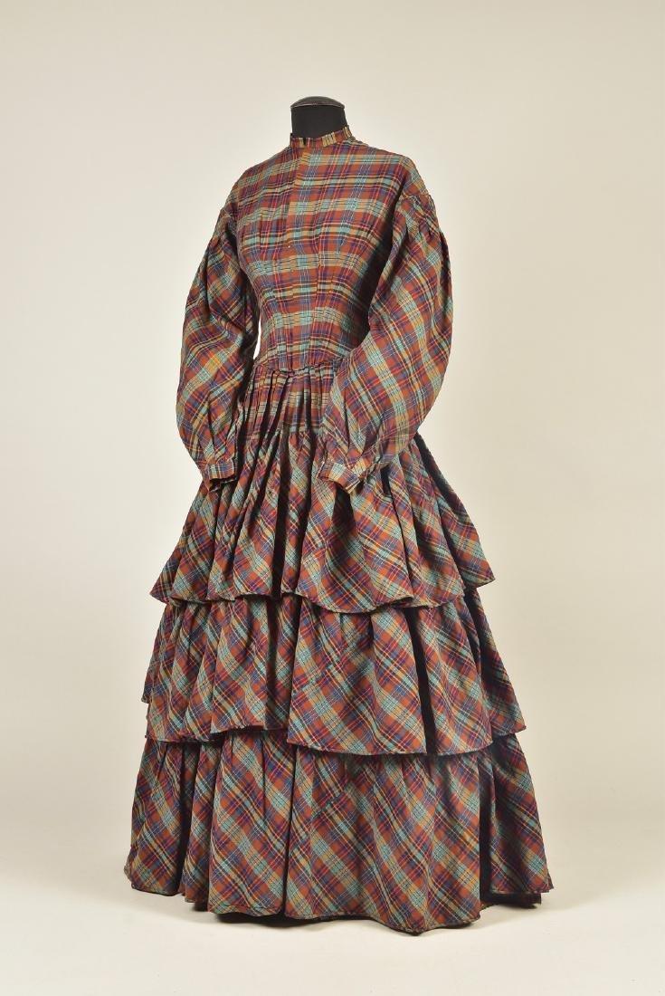 AMERICAN PLAID WOOL DRESS, 1850