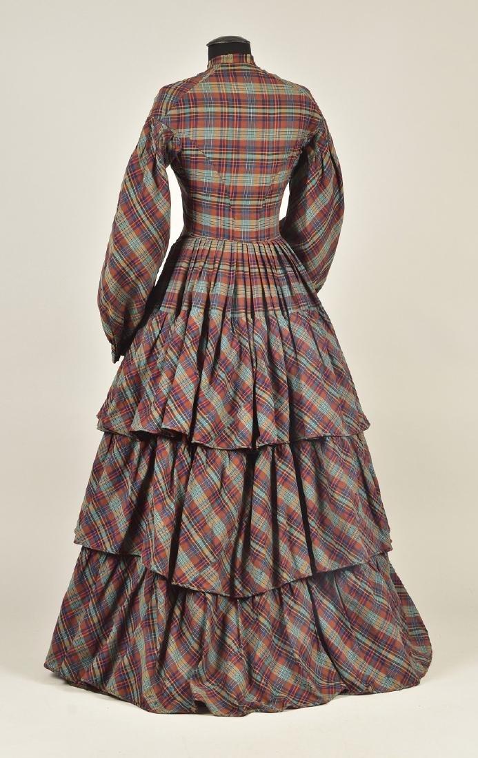 AMERICAN PLAID WOOL DRESS, 1850 - 2