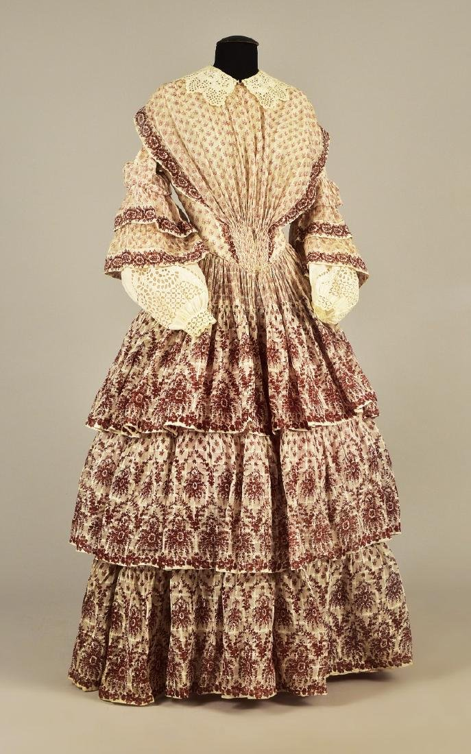 FLORAL PRINTED COTTON DRESS, c. 1856