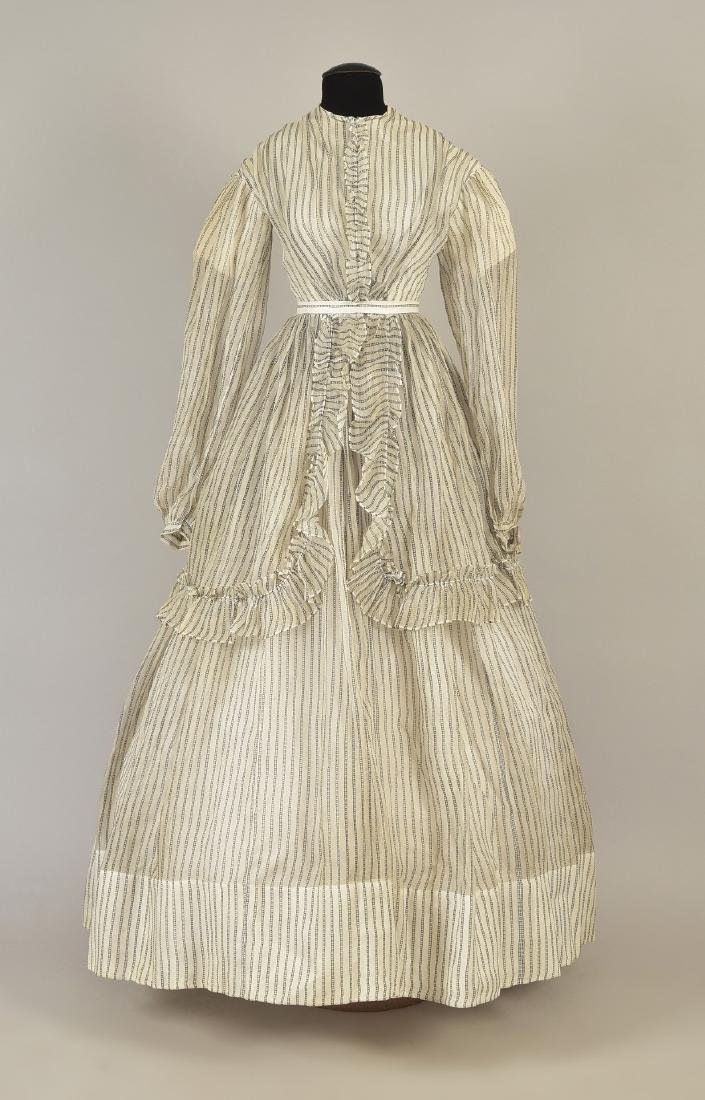 STRIPED COTTON DAY DRESS, c. 1867