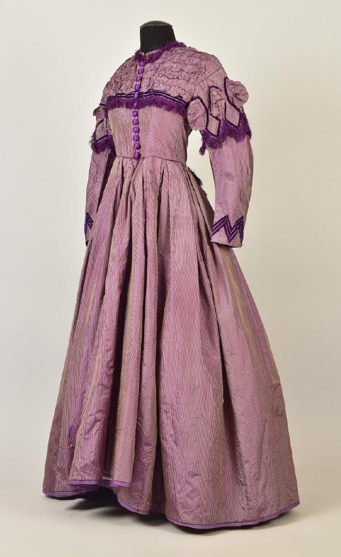 ENGLISH STRIPED and FRINGED SHOT SILK GOWN, 1866