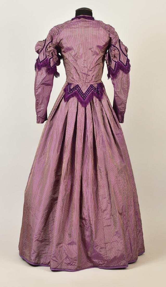 ENGLISH STRIPED and FRINGED SHOT SILK GOWN, 1866 - 2