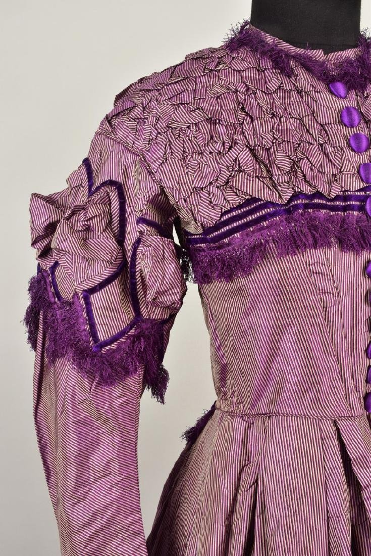 ENGLISH STRIPED and FRINGED SHOT SILK GOWN, 1866 - 3