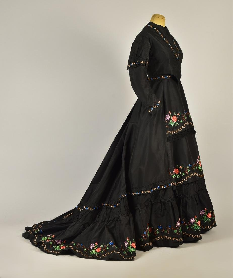ENGLISH FLORAL EMBROIDERED SILK GOWN, 1867