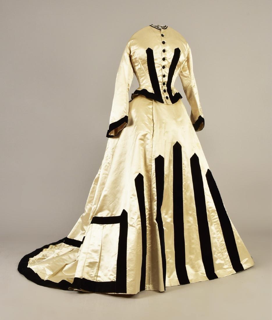 VELVET TRIMMED SATIN DRESS, 1868