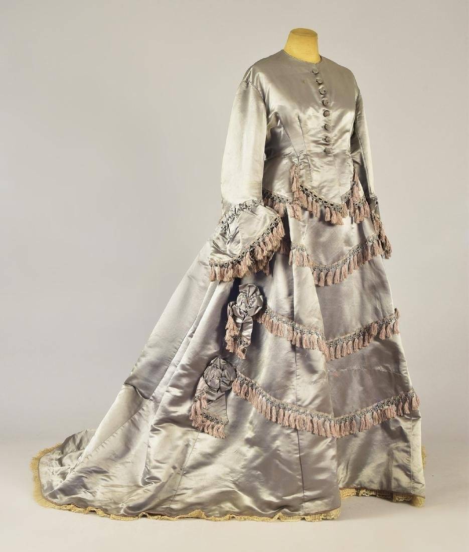 ENGLISH 2-PIECE TRAINED SATIN GOWN, c. 1868
