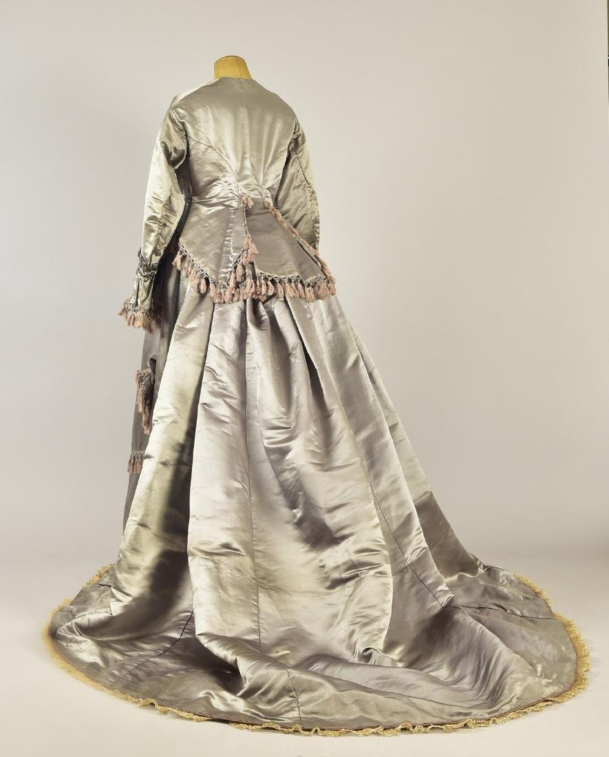 ENGLISH 2-PIECE TRAINED SATIN GOWN, c. 1868 - 2