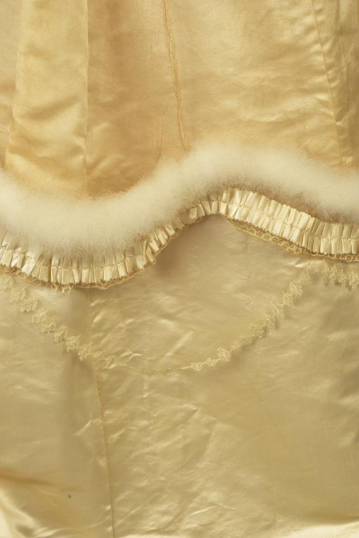 IVORY SATIN WEDDING GOWN TRIMMED in SWAN'S DOWN, c. - 4
