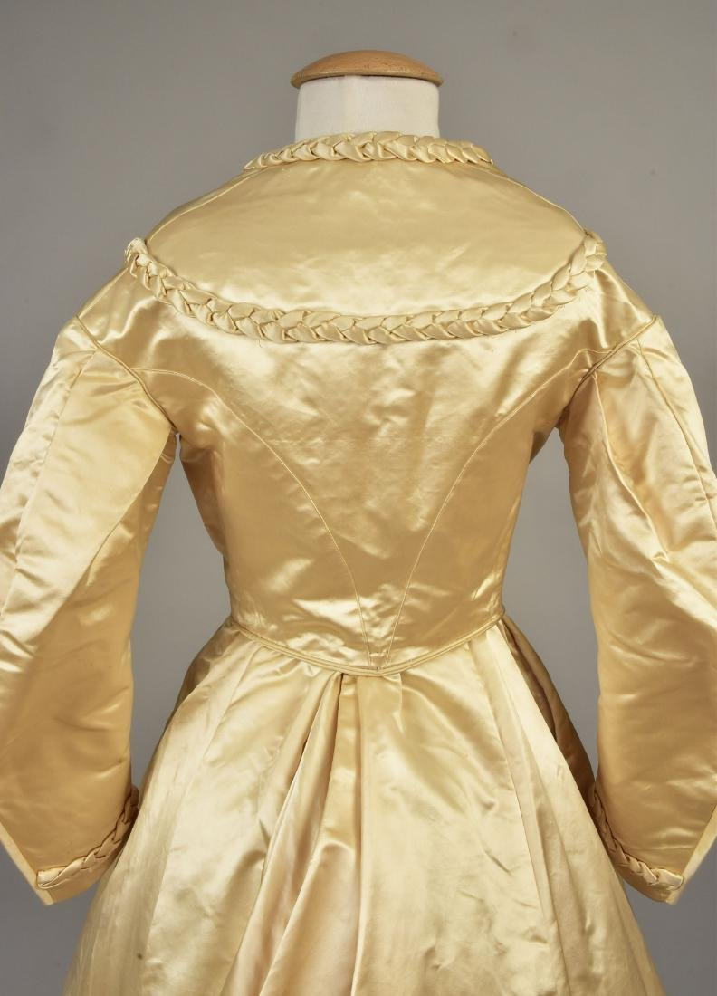 TRAINED SATIN WEDDING GOWN with BRAIDED TRIM, 1867 - 3
