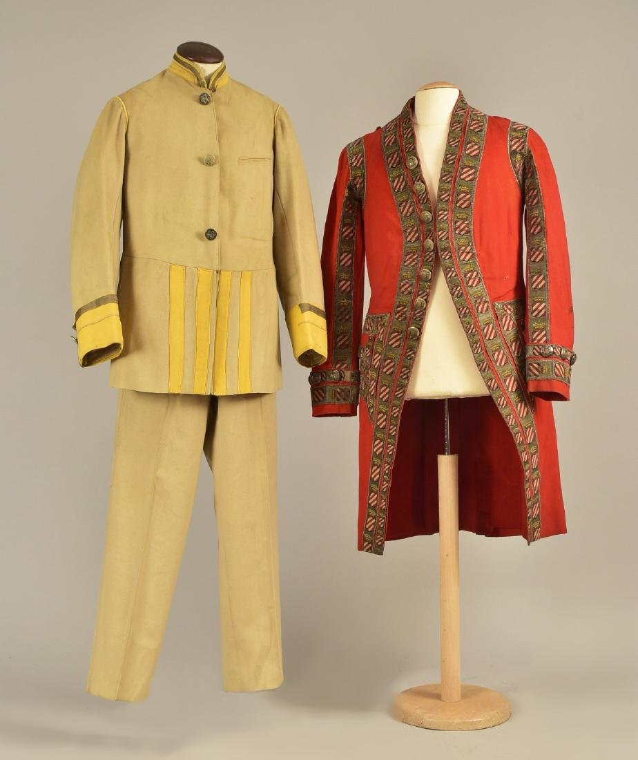 FELTED WOOL LIVERY COAT and SUIT, MID 19th C