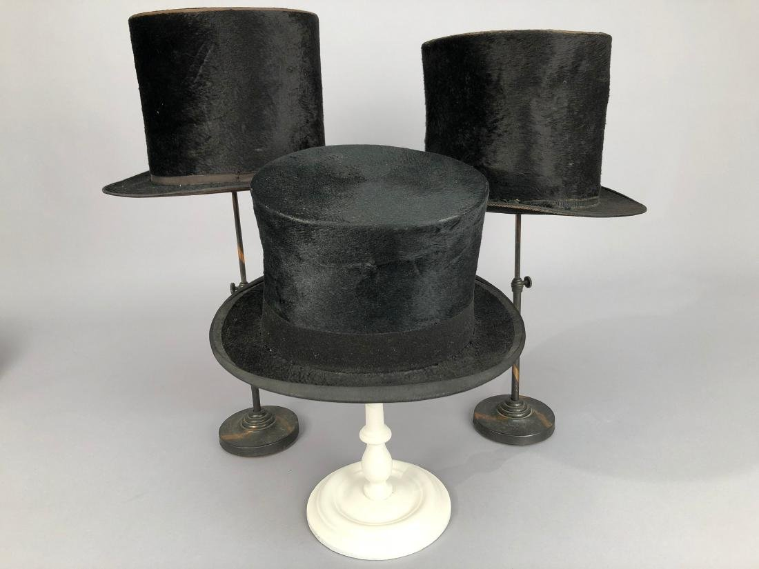 THREE BLACK BEAVER TOP HATS, 1840s - 1890s