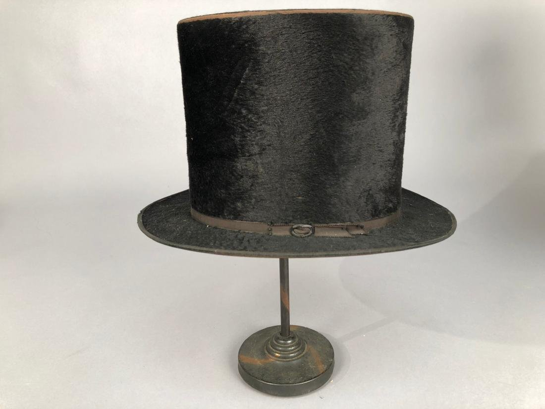 THREE BLACK BEAVER TOP HATS, 1840s - 1890s - 2