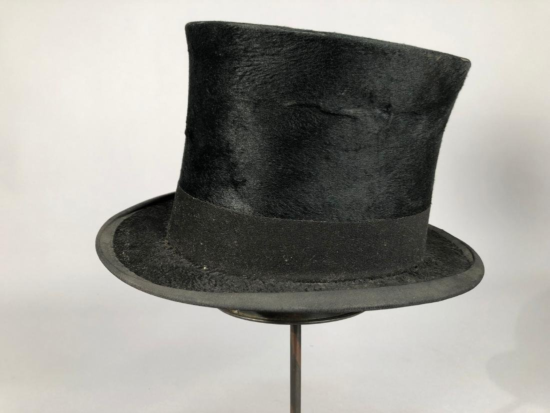 THREE BLACK BEAVER TOP HATS, 1840s - 1890s - 3