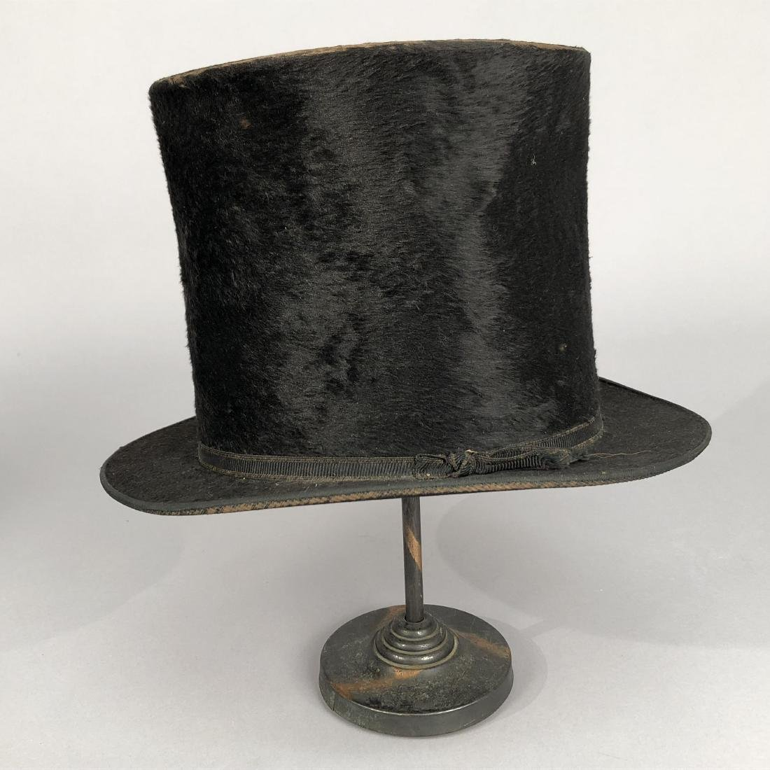 THREE BLACK BEAVER TOP HATS, 1840s - 1890s - 6