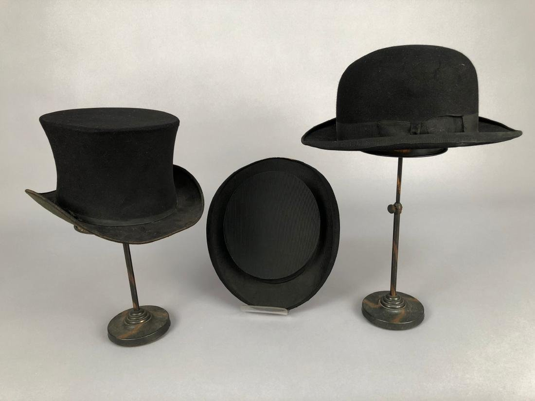 TWO TOP HATS and a BOWLER, EARLY 1900s