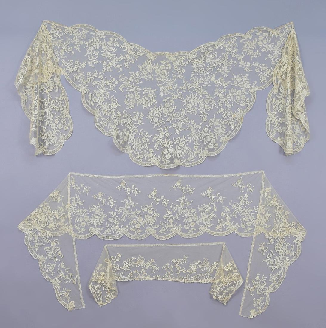 HONITON LACE TIPPET and STOLE SET,  1840s - 1850s