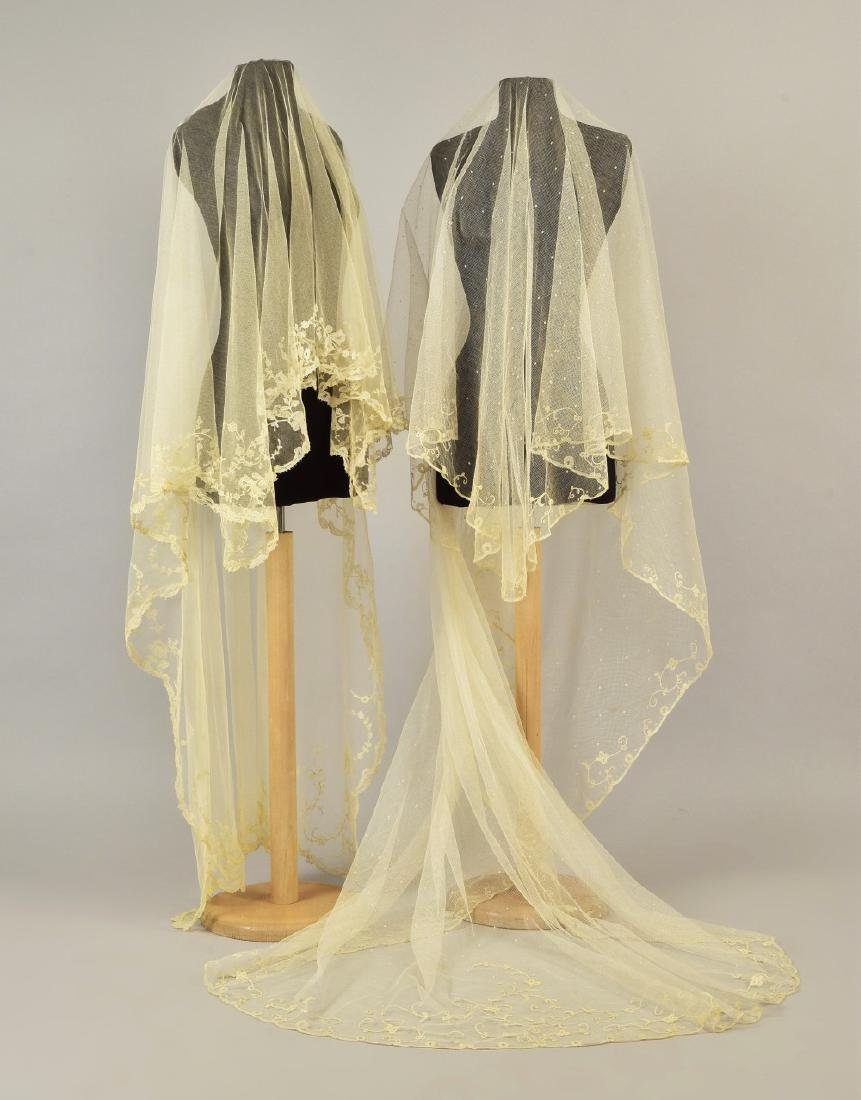 TWO WHITE LACE WEDDING VEILS, EARLY -  MID 19th C