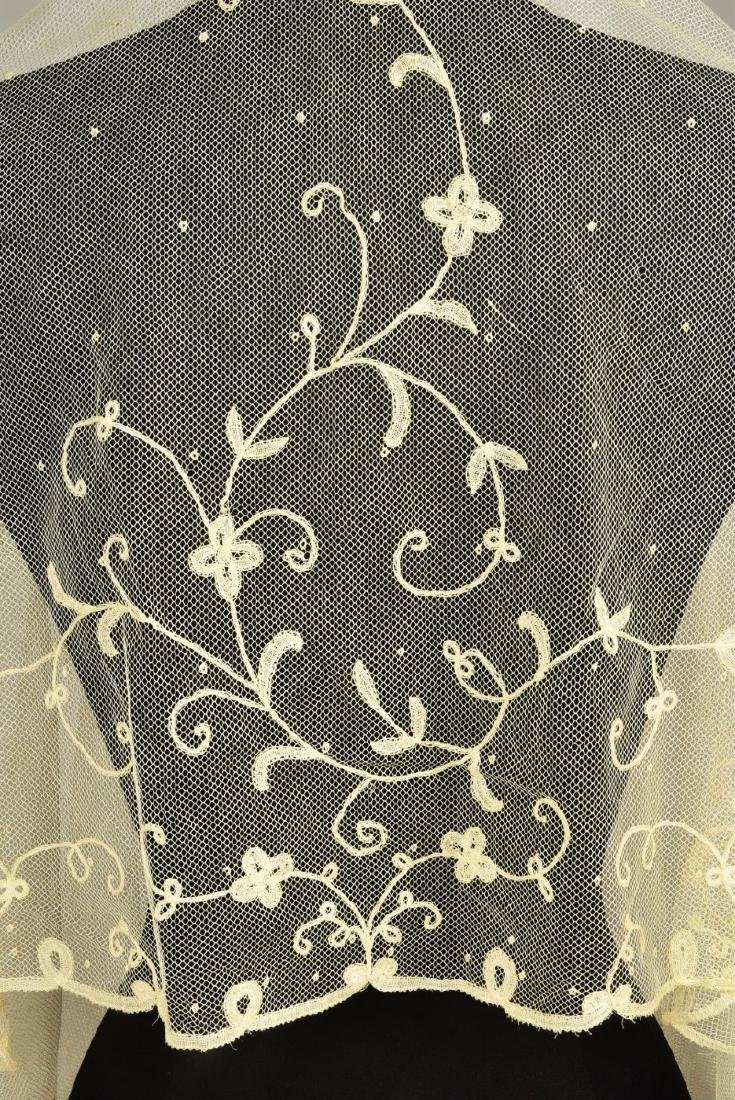 TWO WHITE LACE WEDDING VEILS, EARLY -  MID 19th C - 2