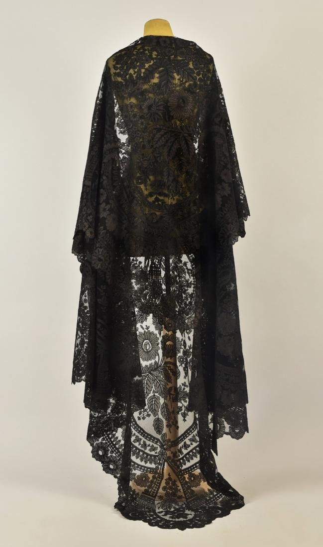 LARGE NET SHAWL with SILK APPLIQUE, 1850s