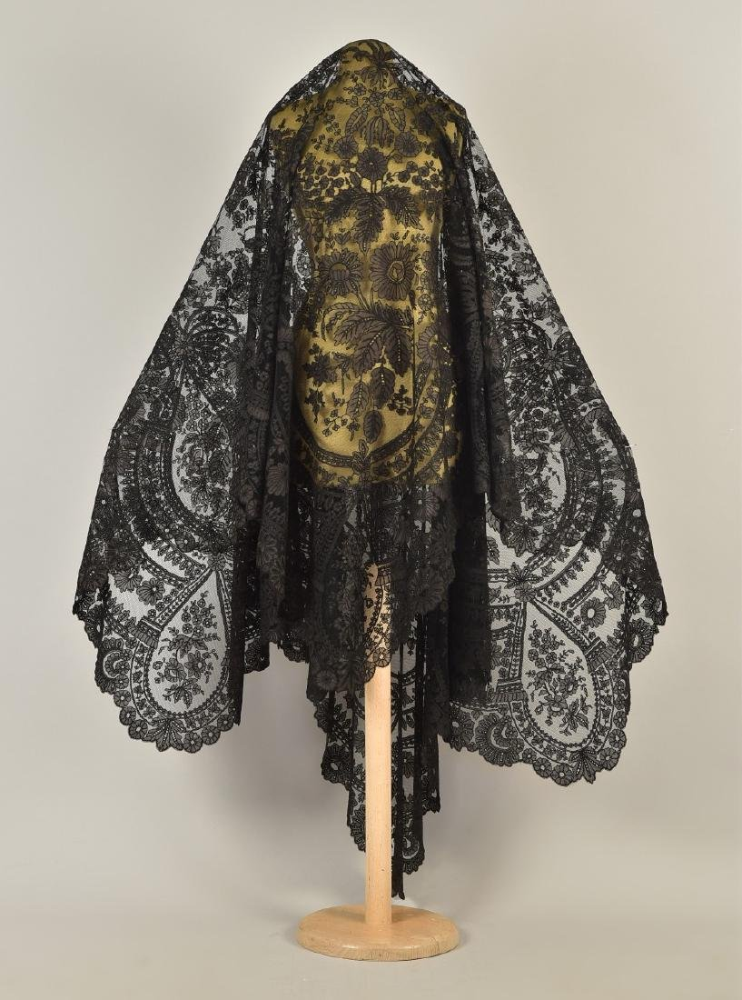 LARGE NET SHAWL with SILK APPLIQUE, 1850s - 2