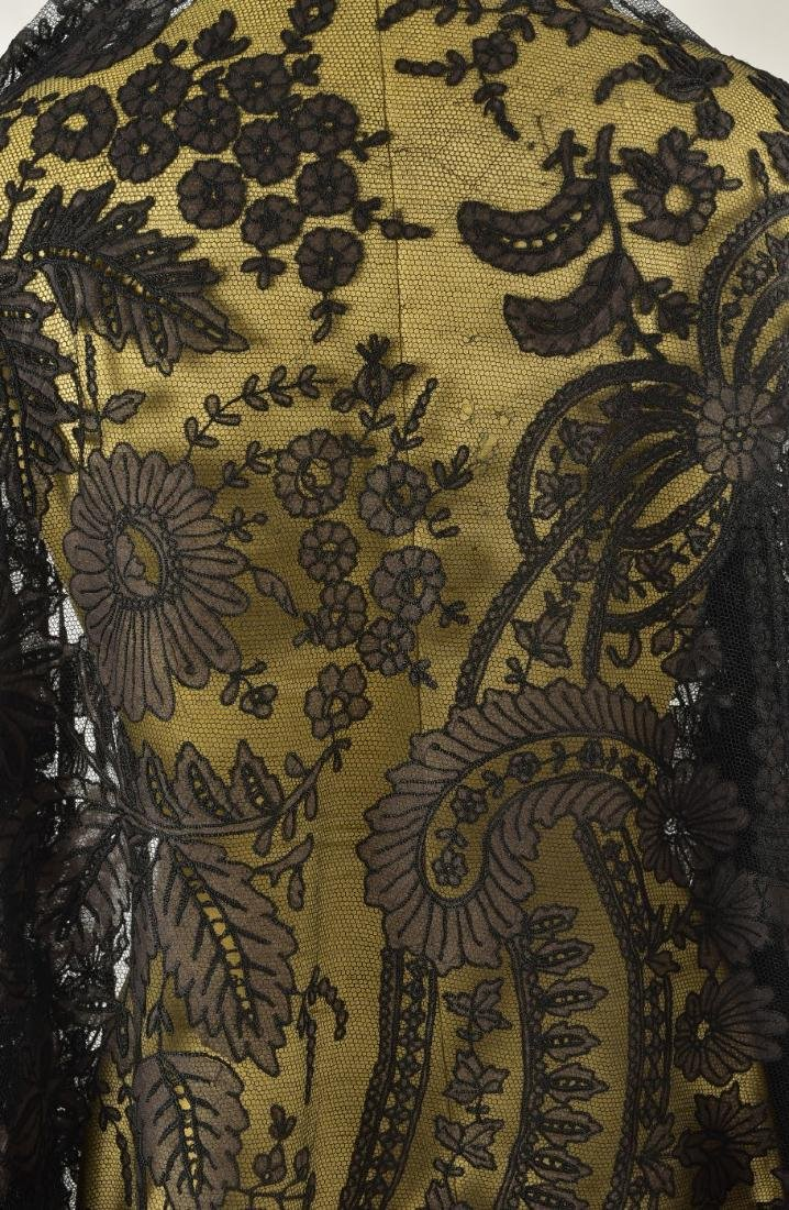 LARGE NET SHAWL with SILK APPLIQUE, 1850s - 3