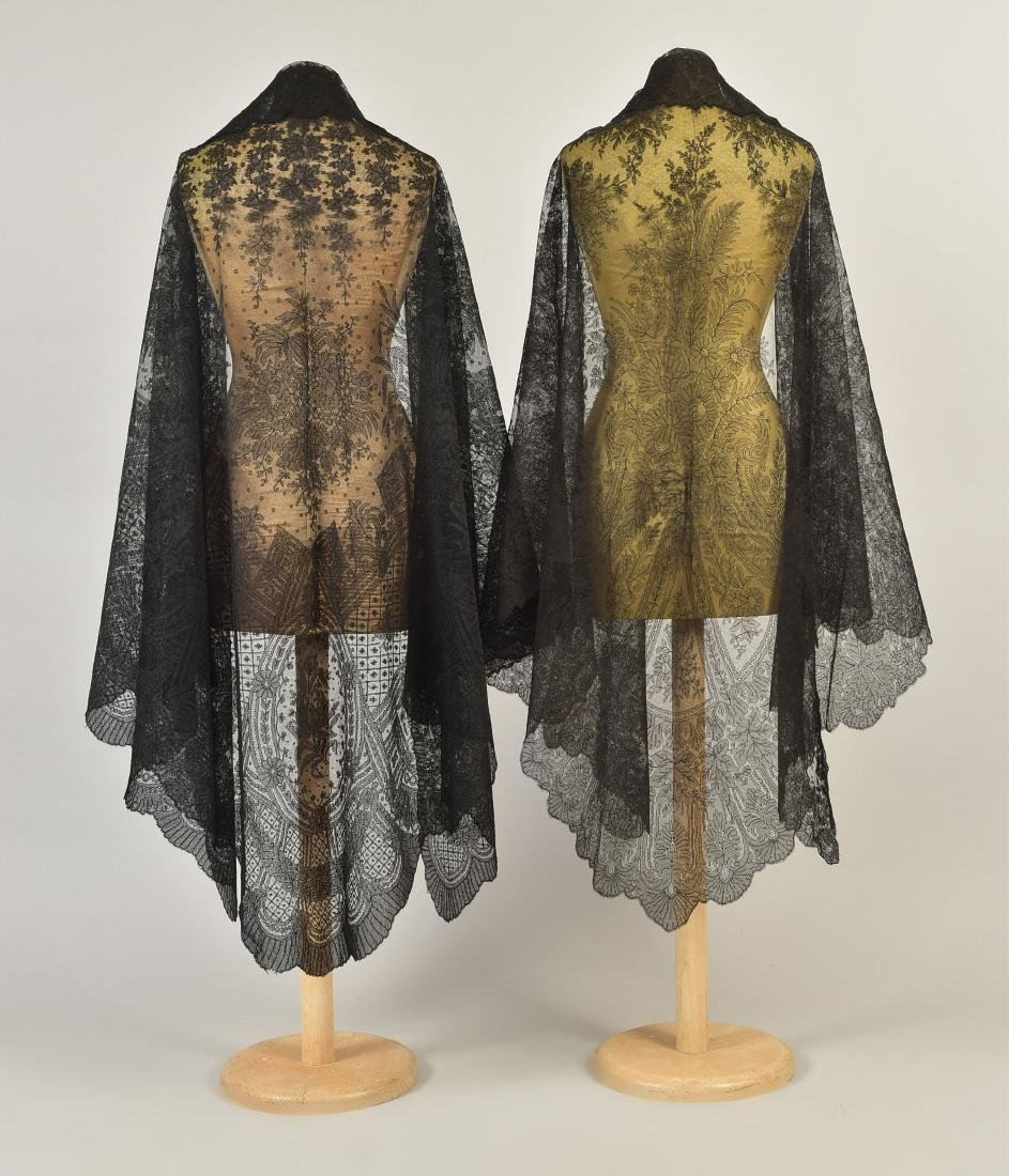 TWO CHANTILLY LACE SHAWLS, 1860s