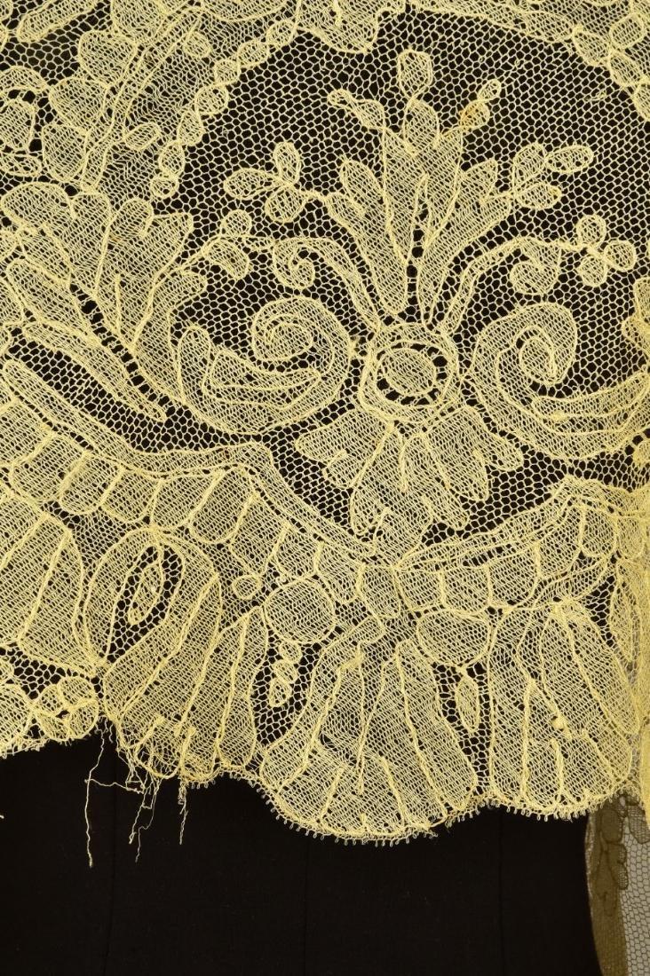 THREE CREAM CHANTILLY LACE SHAWLS, 1860s - 3