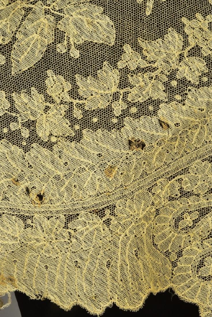 THREE CREAM CHANTILLY LACE SHAWLS, 1860s - 4