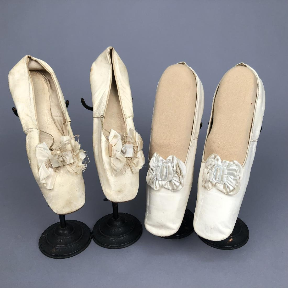 TWO PAIR LEATHER SLIPPERS with SILK BOW, 1830s - 1850s