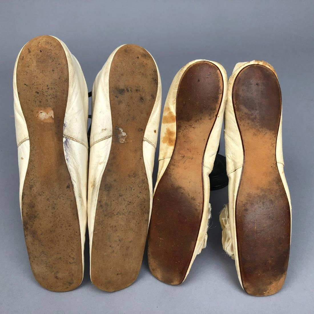 TWO PAIR LEATHER SLIPPERS with SILK BOW, 1830s - 1850s - 3