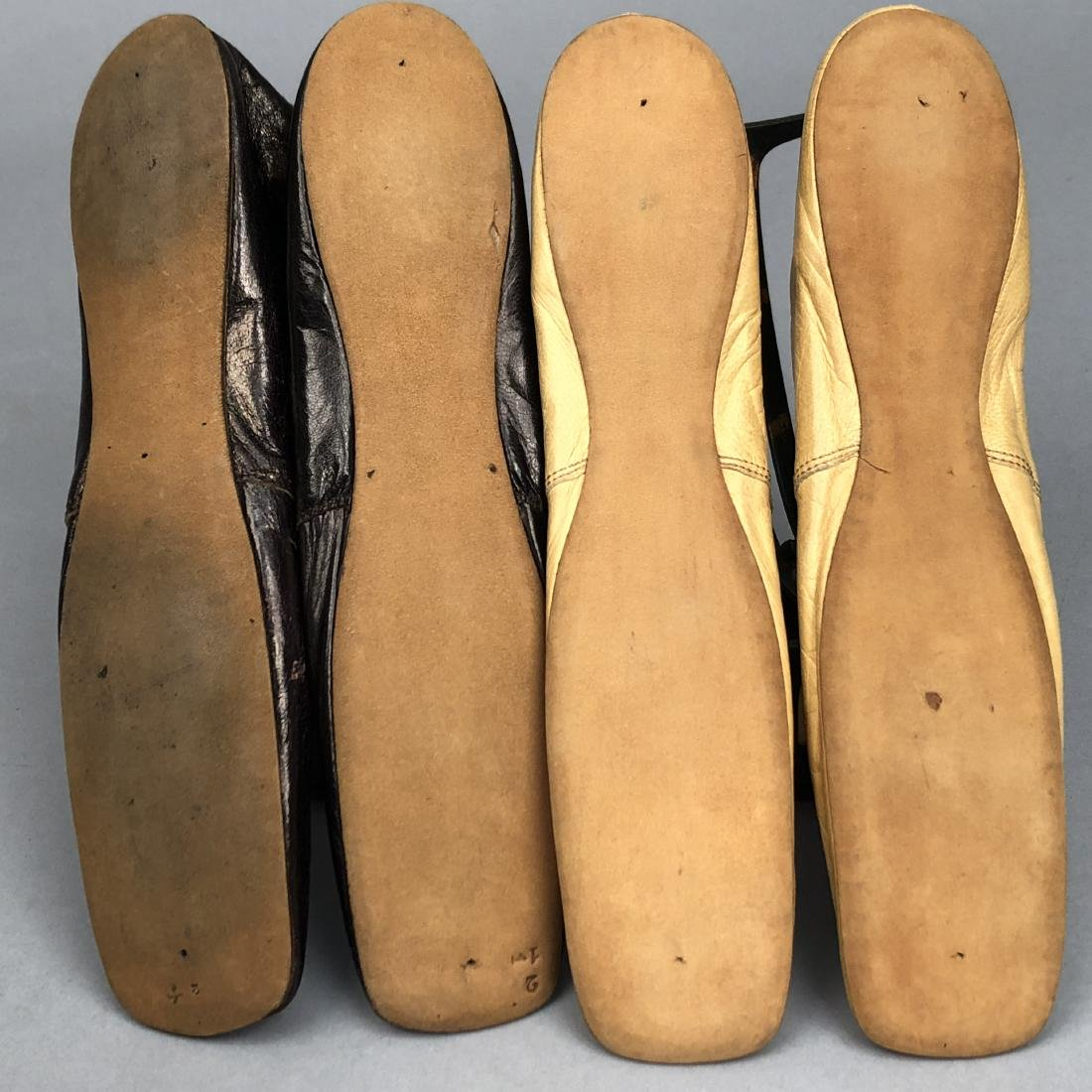 TWO PAIR LEATHER SLIPPERS, 1830 - 1850 - 2