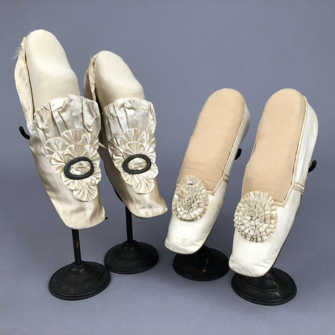 TWO PAIR CREAM FLATS with SILK DECORATION, 1840s and