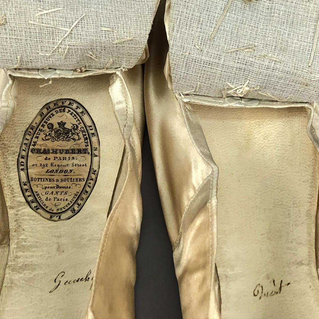 TWO PAIR CREAM FLATS with SILK DECORATION, 1840s and - 5