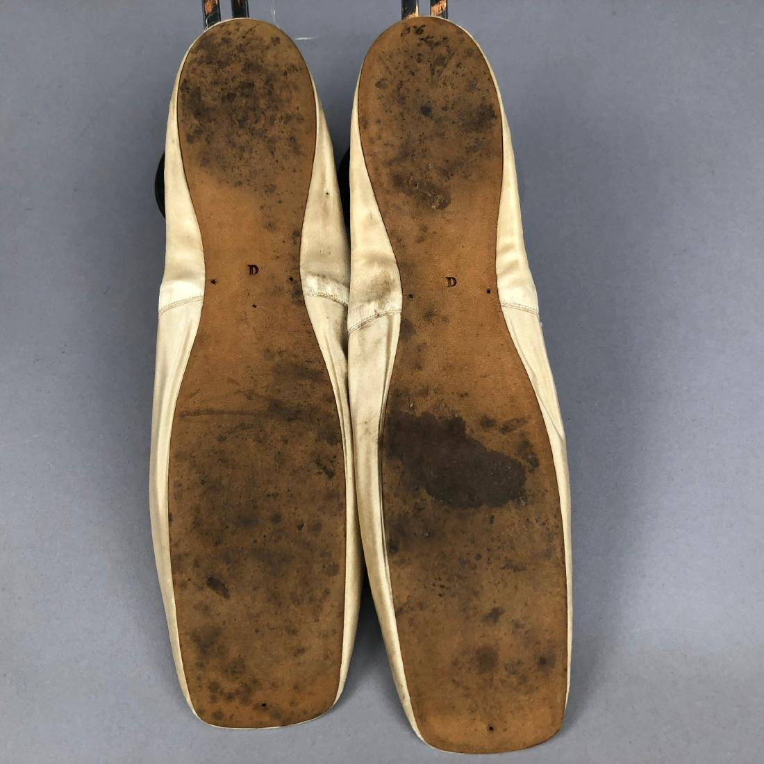 TWO PAIR CREAM FLATS with SILK DECORATION, 1840s and - 6
