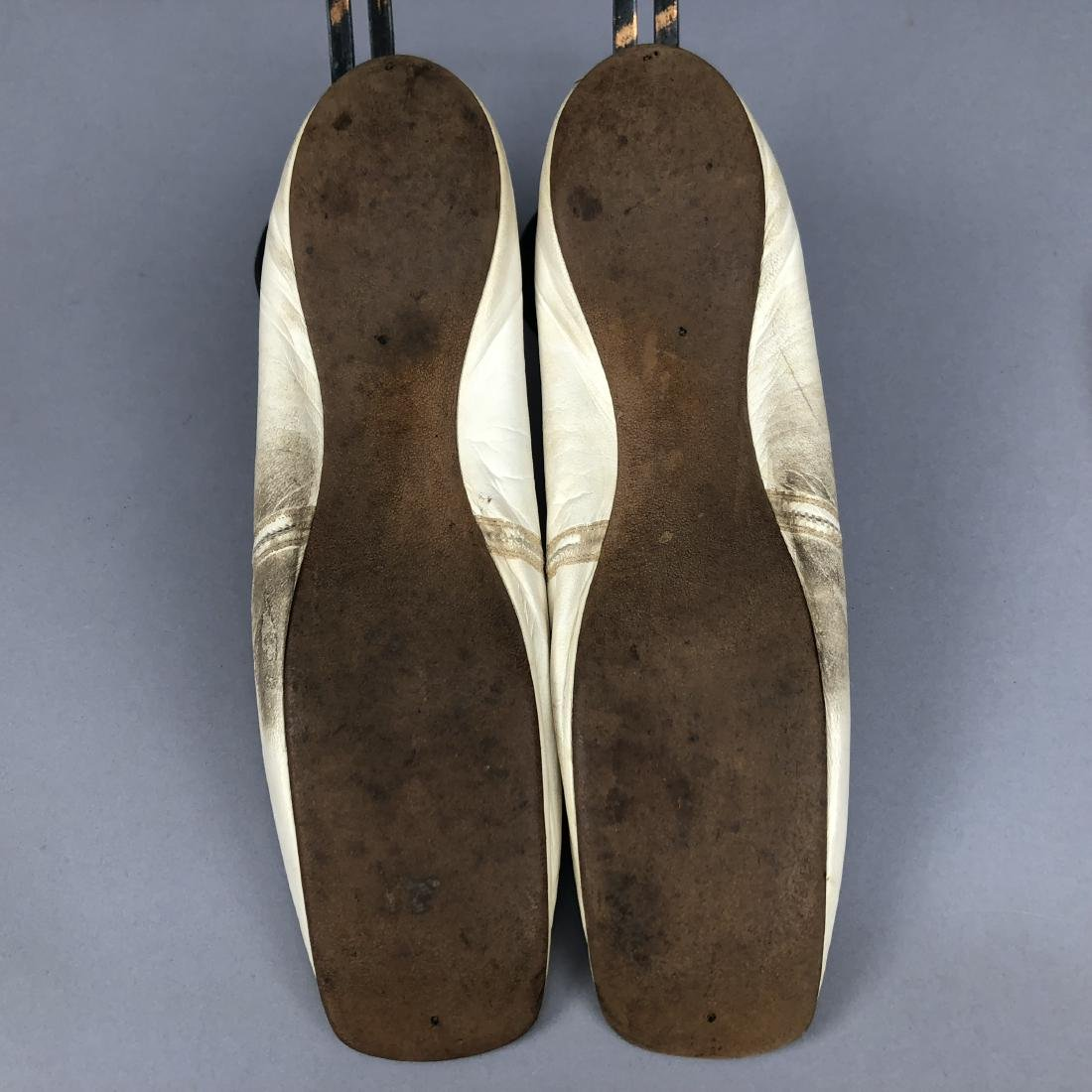 TWO PAIR CREAM FLATS with SILK DECORATION, 1840s and - 7