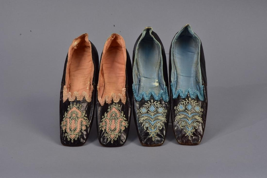 TWO PAIR FRENCH CHAMELEON SHOES, 1860s