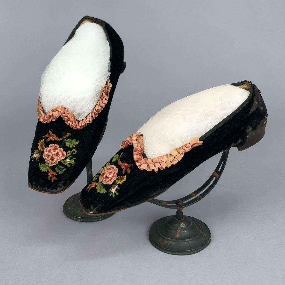 VELVET SLIPPERS with CHENILLE EMBROIDERY, c. 1860