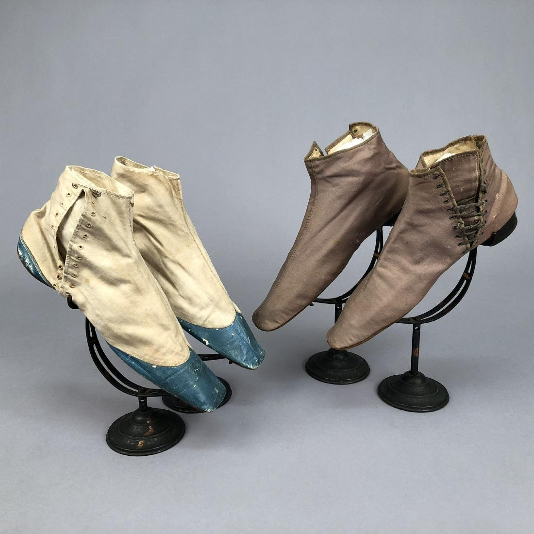 TWO PAIR SIDE-LACING ANKLE BOOTS, 1820s  and MID-19th C