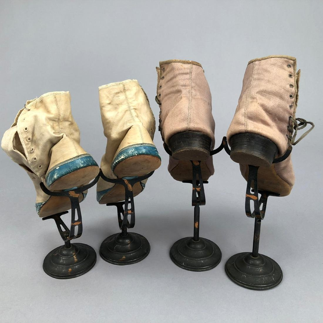 TWO PAIR SIDE-LACING ANKLE BOOTS, 1820s  and MID-19th C - 2