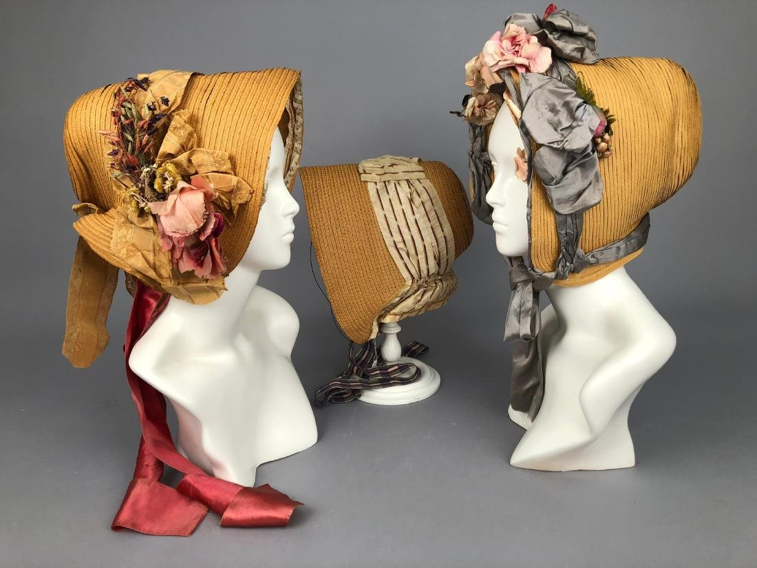 THREE WIRED-BRIM STRAW BONNETS, 1840s