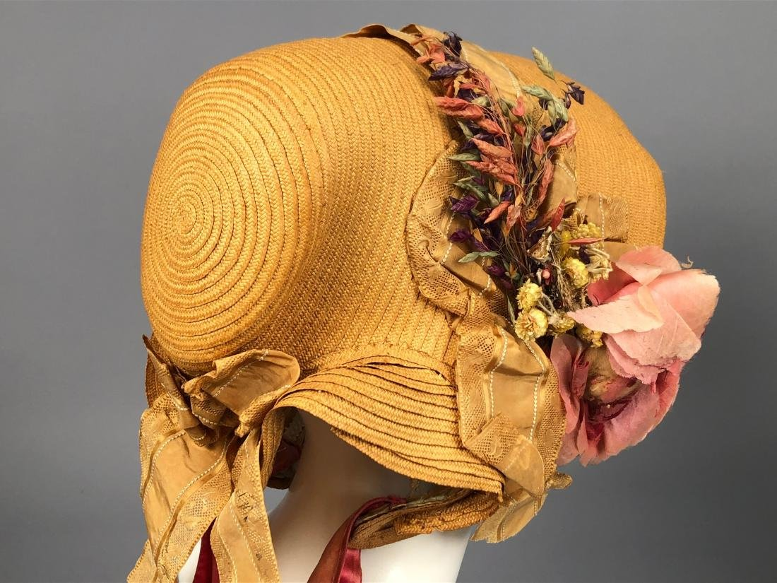 THREE WIRED-BRIM STRAW BONNETS, 1840s - 2