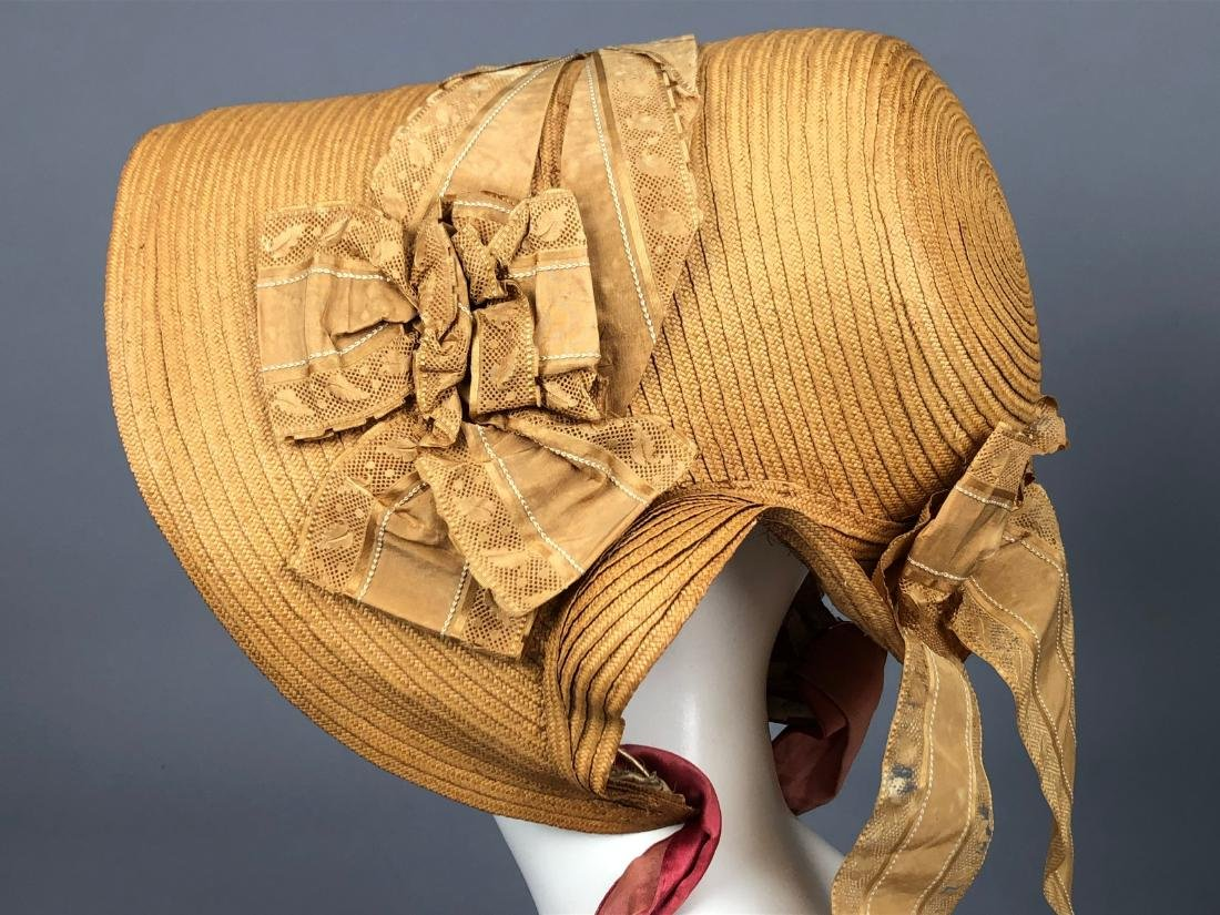 THREE WIRED-BRIM STRAW BONNETS, 1840s - 3