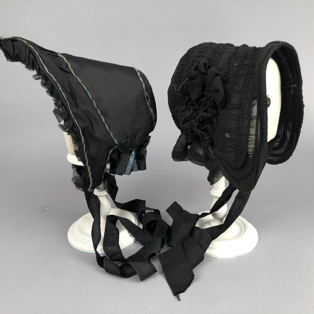 TWO BLACK MOURNING BONNETS, 1840s and c. 1860 - 2