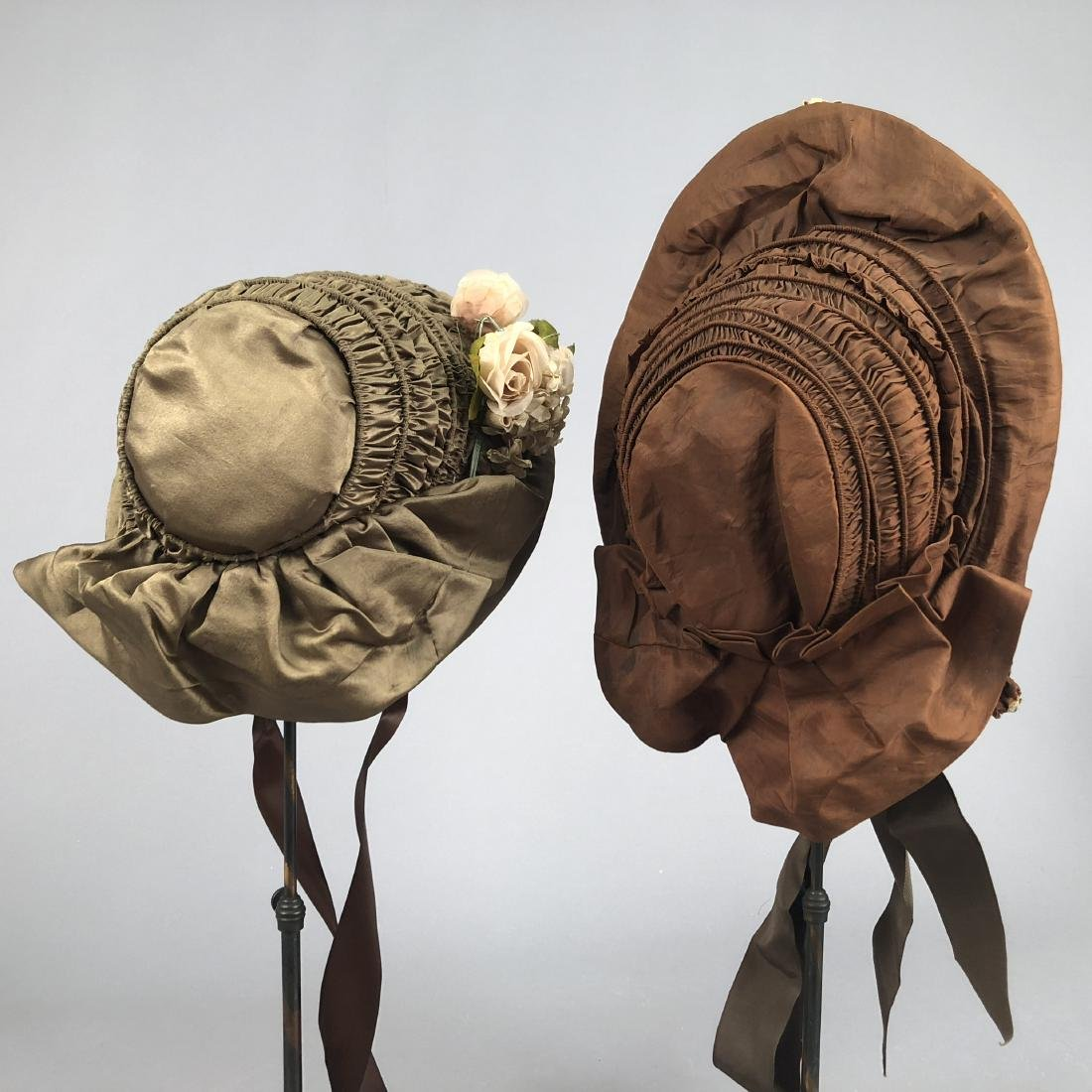 TWO RIBBED SILK BONNETS with FLOWERS, 1840s - 3