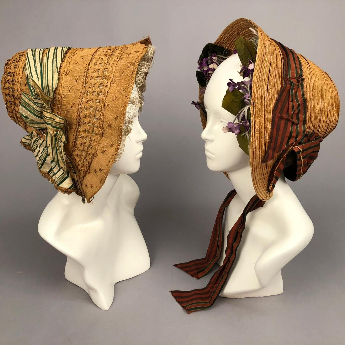 TWO STRAW BONNETS with STRIPED RIBBON, 1840 - 1855