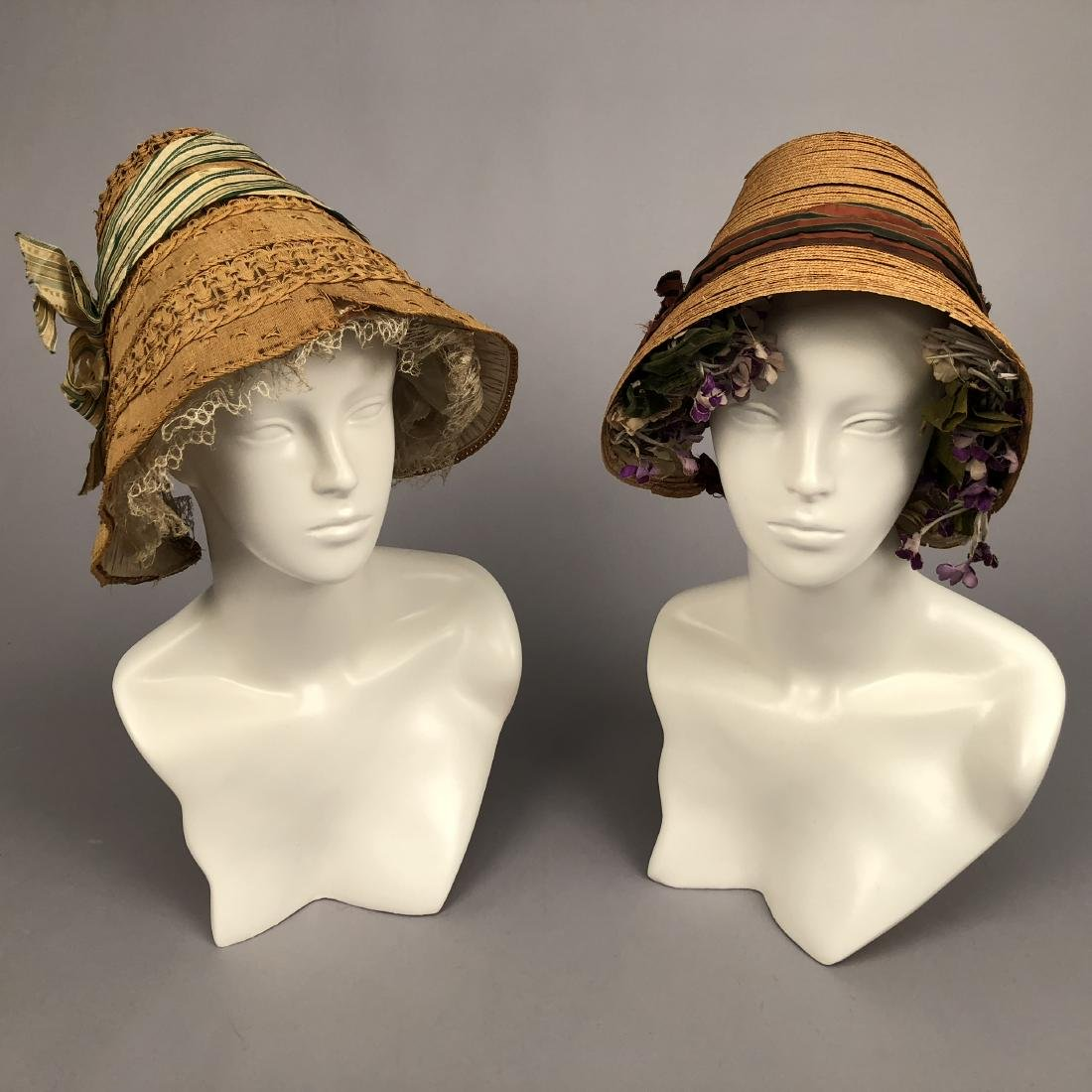 TWO STRAW BONNETS with STRIPED RIBBON, 1840 - 1855 - 2