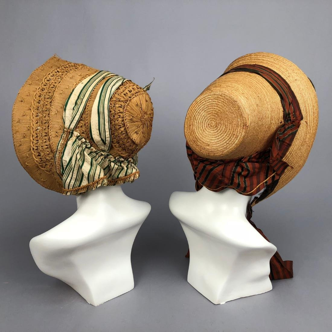 TWO STRAW BONNETS with STRIPED RIBBON, 1840 - 1855 - 3