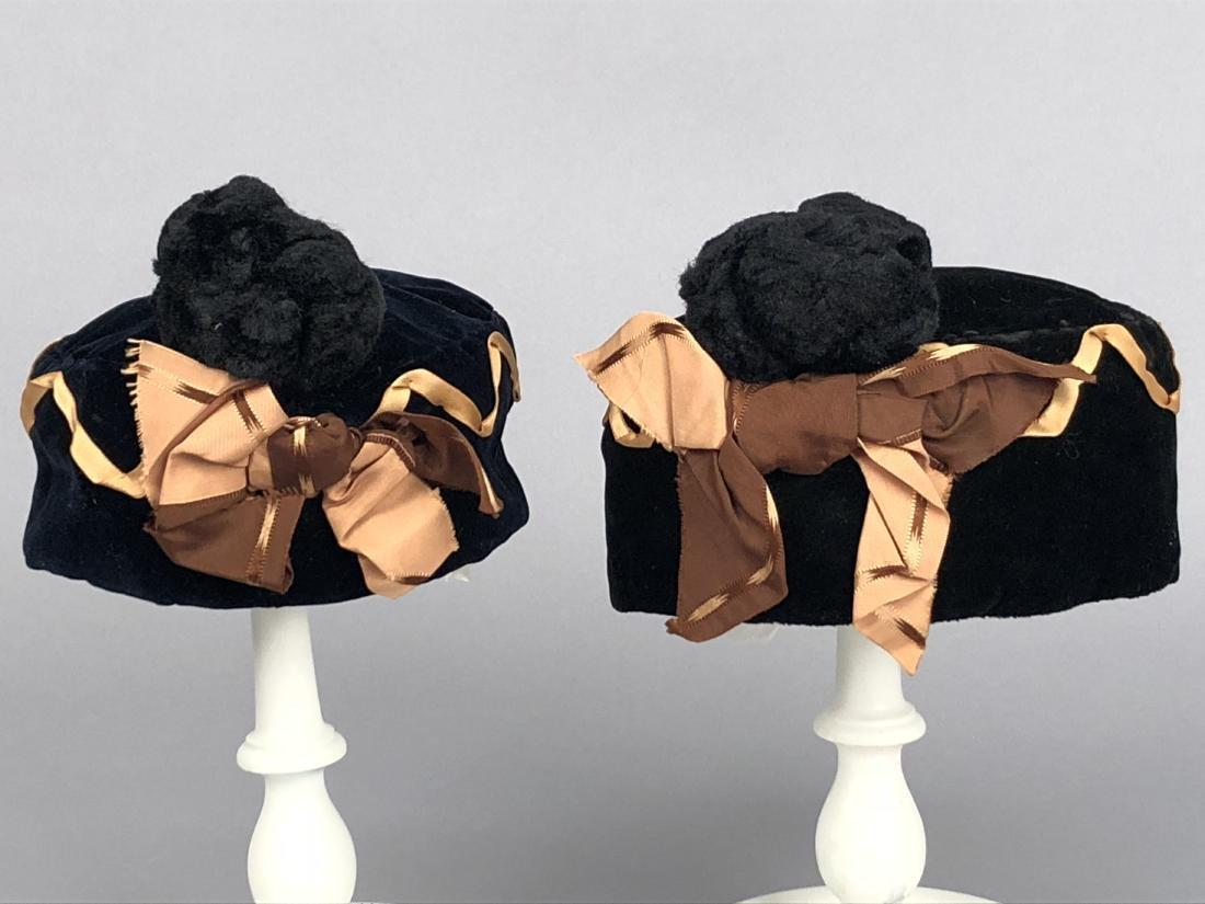 TWO MATCHING CHILDREN'S VELVET HATS, 1860s - 2